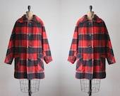 vintage plaid coat - 1960's plaid wool jacket