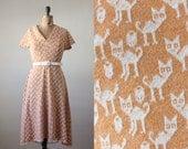 1960's cat print dress