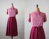 RESERVED. 1970's dress - two-tone cranberry day dress