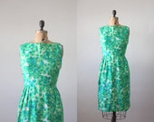 1960s dress - silk garden wiggle dress