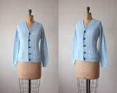 1960s cardigan - powder blue cable knit cardigan
