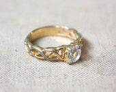 braided rhinestone ring