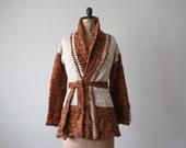 wrap sweater - 1970's tribal wrap cardigan