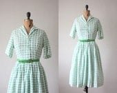 1950s dress - vintage 1950's green houndstooth dress
