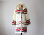 hooded cardigan - vintage 1970's slouchy button up sweater