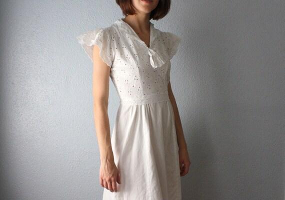 RESERVED. vintage 1940's white eyelet dress