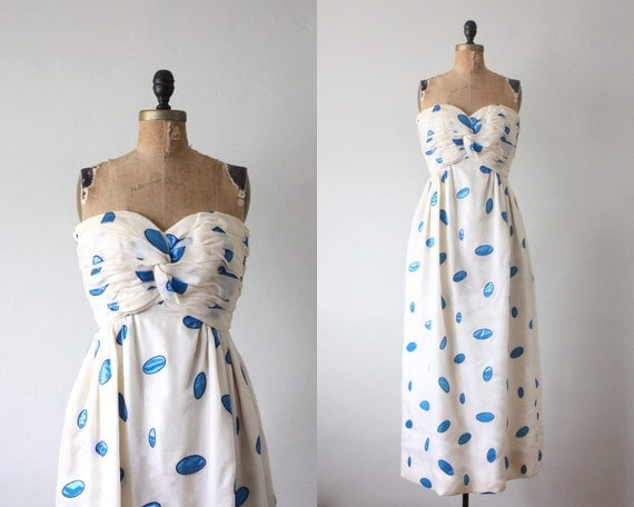 vintage 1960's adolpho strapless midcentury gown