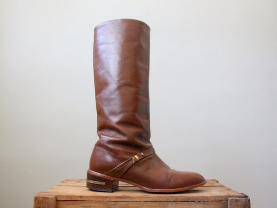 leather boots - brown vintage boots - vintage 1970's bourbon equestrian boots size 7