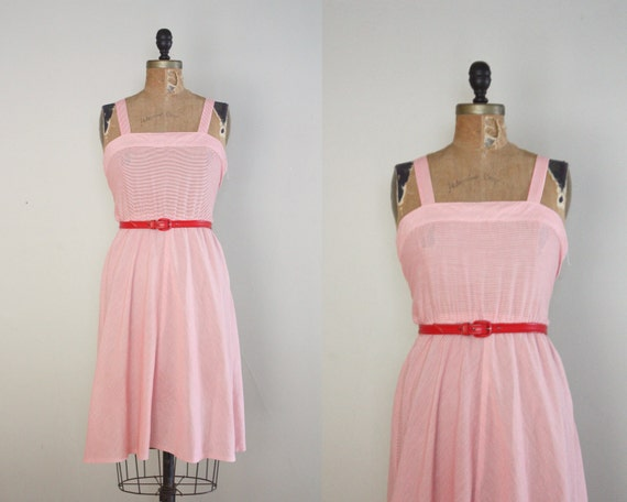 1970's dress - peppermint red and white stripe sundress