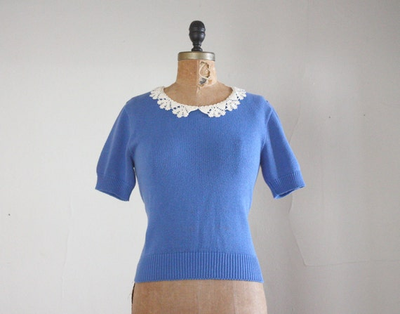 1970s sweater - vintage blue lace peter pan collar sweater