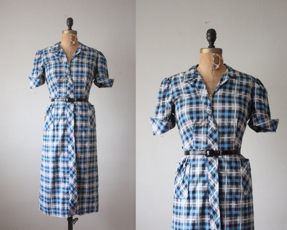 1950s dress - vintage 1950's plaid day dress