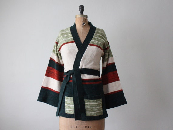 wrap sweater - 1970's forest green wrap cardigan