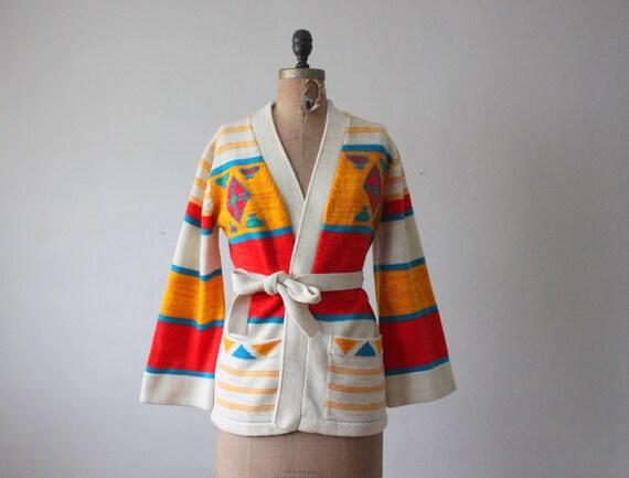 wrap sweater - 1970's tribal knit wrap cardigan