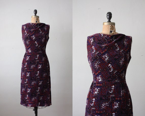 1960's dress -  cranberry and plum wiggle dress