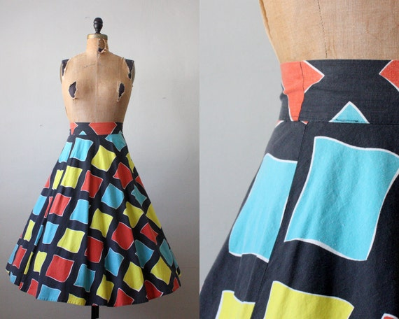 vintage 1950's geometric print circle skirt