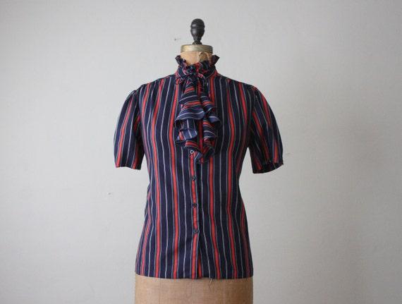 vintage 1970's striped secretary blouse