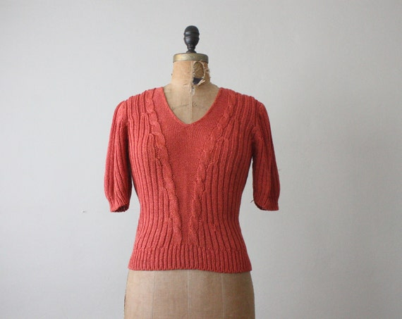 1970's rose knit sweater
