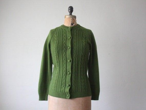 1960's cardigan - moss green sweater