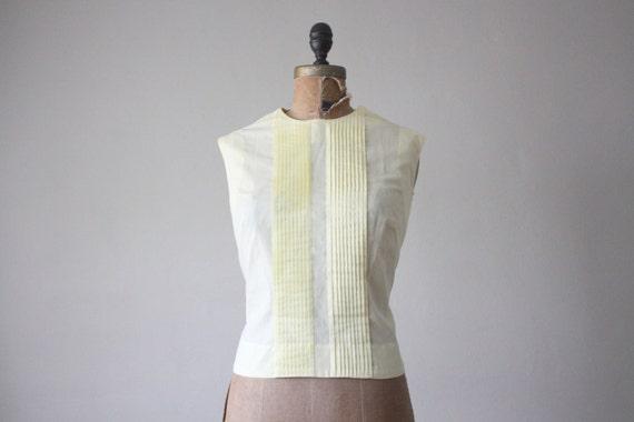 vintage 1950's buttercream pintuck blouse
