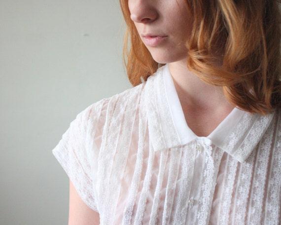 1950's blouse - midcentury lace blouse