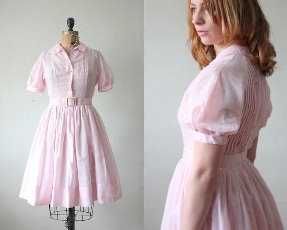50s dress - vintage 1950's pink lace party dress