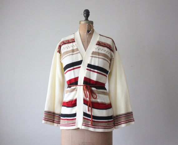 wrap sweater - 1970's tribal wrap cardigan