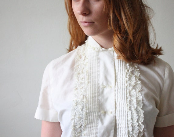 1950's blouse - lace blouse - midcentury cotton lace blouse