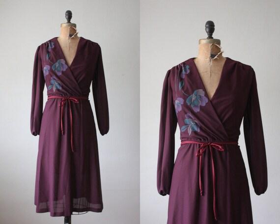 1970s dress - purple floral wrap dress
