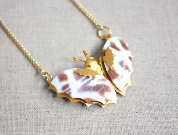 vintage 1970's butterfly necklace