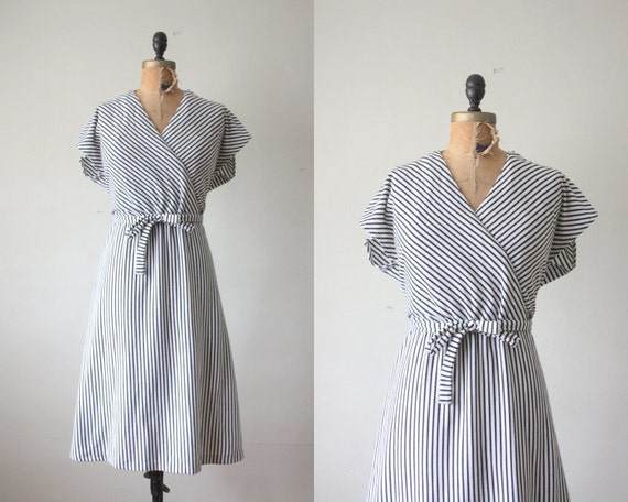 1970s dress - striped wrap dress