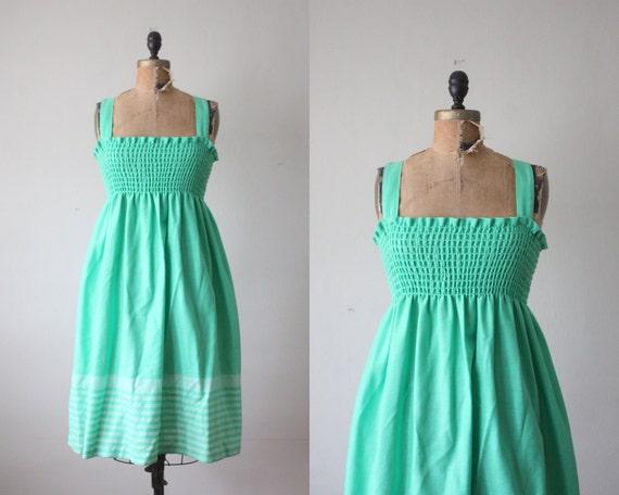 vintage 1970's kelly green sundress