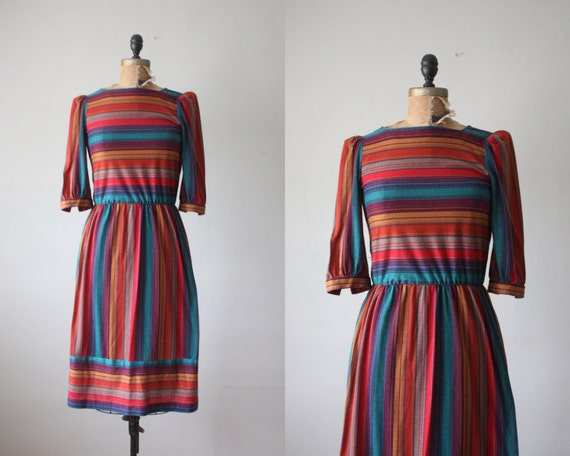 1970s dress - striped day dress