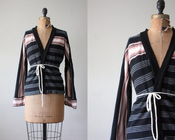 RESERVED. wrap sweater - 1970's striped wrap cardigan