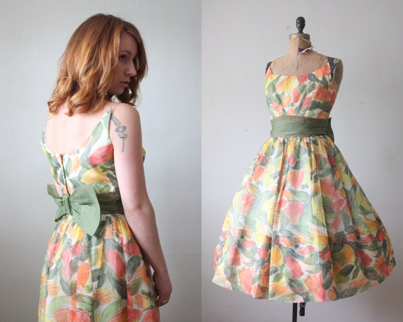 1950s dress - tulip chiffon cocktail dress