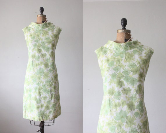 1960s dress - vintage 1960's green fern wiggle dress