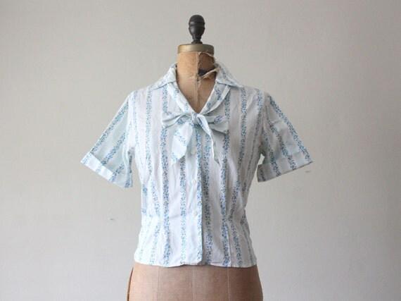 50s blouse - floral secretary blouse
