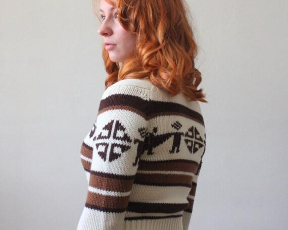 1970's cardigan - tribal knit cardigan