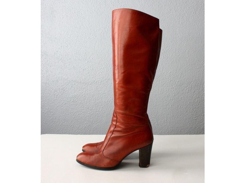vintage 1970 s caramel knee high boots size 6 by 1919vintage