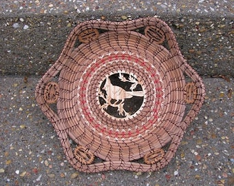 Scroll Sawn Image of a Cardinal Pine Needle Basket