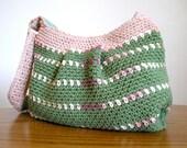 Sage green and taupe hobo handbag, lined crochet