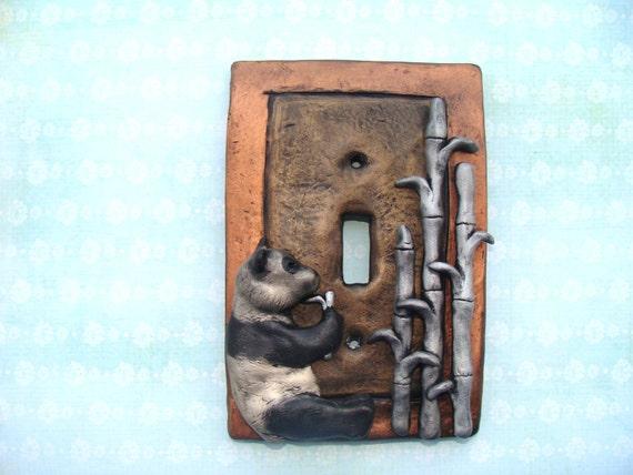 Cute Panda Light Switch Cover Polymer Clay  Lightswitch Plate Metallic Bamboo