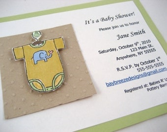 Baby Onesie Shower Invite Sample