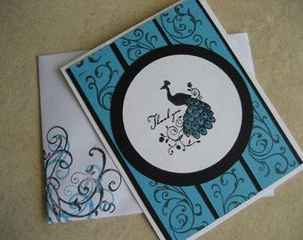 Peacock Thank You Card Set (4)