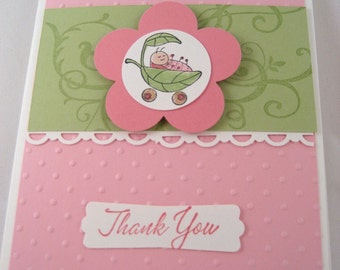 Baby Girl Thank You Blank Cards - Set of 10