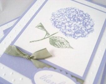Beautiful Hydrangea Flower Thank You Card Set (3)