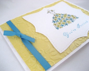 Yellow Bridal Dress Shower Invitation Sample