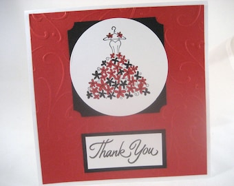 Bridal Party Red and Black Thank You Card Set of 5