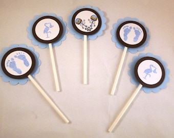 Baby Boy Shower Cupcake Toppers Set of 12