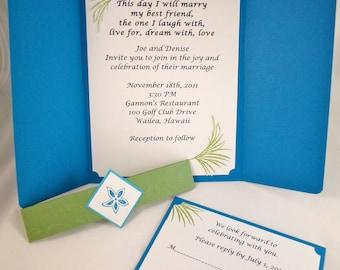 Tropical Wedding Gate Fold Invitation Sample