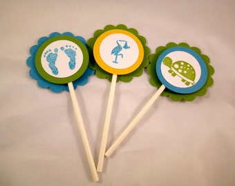 Baby Boy Turtle Themed Shower Cupcake Toppers Set of 12